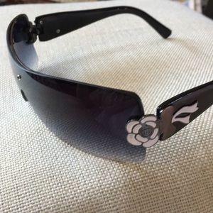 Accessories - Blue Lens Sunglasses w/ Floral Side Detail